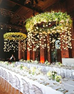 3. Large chandeliers with hanging flowers