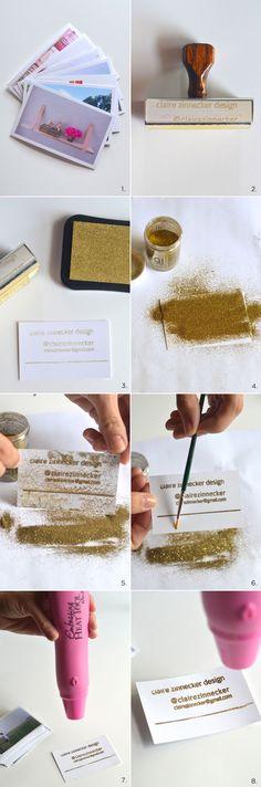 DIY embossed instragram business cards