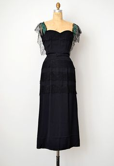 Gown: ca. late 1930's, rayon, velvet and lace on the straps/shoulders, tiered lace details on skirt, original belt.