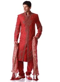 Red Sherwani.sherwani falls well below the knees, and looks elegant especially if the groom is tall.