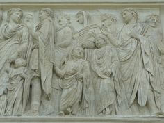 Ara Pacis, carved panel depicting the family of Augustus, Rome.