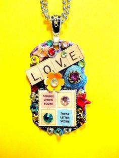 Scrabble Love Dog Tag Pendant Number 423 by BradosBling on Etsy, $34.99