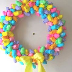 repined by kid chef - Delainey's Diner -Easter ~ A wreath made out of Peeps #ExpressYourPeepsonality