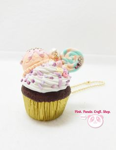 Peachy ice cream chocolate cupcake polymer clay keychain