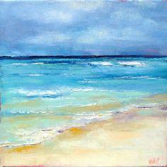 Aqua beach art Gulf Waters II square 8x8 by NancyHughesMiller - lovely.