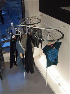 Bike Wheels as Apparel Rack Lazy Susan