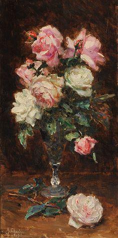 """17571.jpg 298×600 pixels CHANTRON, Alexandre Jacques (1842-1918) Bouquet de roses Huile sur toile Signée et datée en bas à gauche: A J. Chantron 1913  55x27cm - 21.5x10.75"""""""