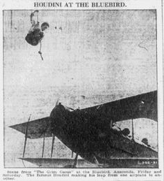 """Movie still from Harry Houdini's film """"The Grim Game,"""" published in the Anaconda Standard newspaper (Anaconda, Montana), 14 December 1919. Read more on the GenealogyBank blog: """"Houdini: Remembering the Magical Life of Erik Weisz."""" http://blog.genealogybank.com/houdini-remembering-the-magical-life-of-erik-weisz.html"""