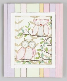Take a look at this Pink Striped Owl Duo Framed Wall Art by Renditions by Reesa on #zulily today!