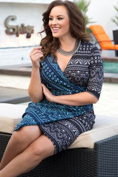 Look great and feel great in our plus size Mixology Cinch Dress. This faux wrap dress flatters every curve so you feel just as amazing as you look! Browse our entire made in the USA collection at www.kiyonna.com. #kiyonnaplusyou