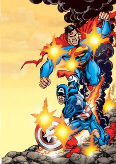 Superman and Captain America by George Perez