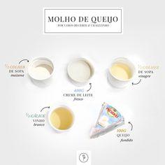 Vontade de foundue Modo de preparo: 1. Derreta o queijo em panela anti-aderente e junte o creme de leite. 2. Mexa bem e junte o vinho branco, o vinagre e a maisena. 3. Deixe ferver e mexa até encorpar.