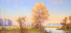 Glenn Rudderow, Early Spring Maple, oil on linen, 11 3/4 x 23 7/8 inches