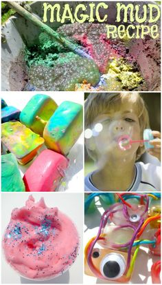 TONS of simple Summer Play Recipes & FUN ways to play- Multiple recipes for bubbles, sidewalk chalk, homemade colored sand..... and lots of play recipes to help kids stay cool like icy doughs, Summer Snow, ice paints, and lots MORE!