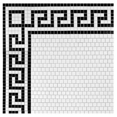 """Retro Greek Key 0.81"""" x .81"""" Porcelain Mosaic Floor and Wall Tile in Matte White and Black Border"""