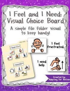 This I Feel and I Need Visual Choice Board is a simple resource to keep handy.  Providing a student with a visual support may allow him to express his needs without having to find the words.  It can be beneficial for both verbal and non-verbal students.