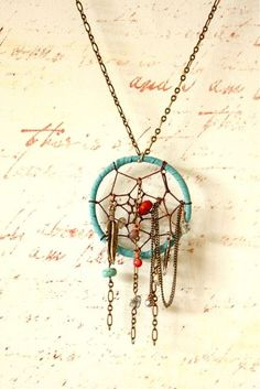 Dream catcher necklace.A very beautiful piece of jewellery that could be put with a casual,slouchy sort of outfit or a dressy and fancy outfit.