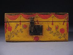 Antique Paint Decorated Document Box Circa 1830 - Folk Art AAFA #Americana