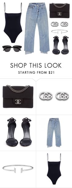 """Untitled #21926"" by florencia95 ❤ liked on Polyvore featuring Chanel, Gucci, Stuart Weitzman and Yves Saint Laurent"
