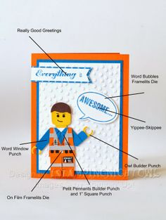 Lego Movie - Emmet----cute idea for a card for a boy----lego card Kids Cards, Baby Cards, Emmett Lego, Lego Birthday Cards, Lego Card, Lego Movie Party, Punch Art Cards, Cool Cards, Stampin Up Cards