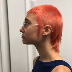 young woman with peach mullet hair young woman with peach mullet hair Dress Hairstyles, Cute Hairstyles, Hair Inspo, Hair Inspiration, Short Mullet, High And Tight Haircut, Mullet Hairstyle, Hair Upstyles, Peach Hair