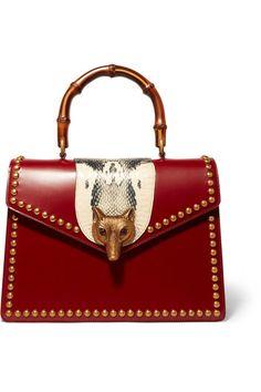 Gucci - Linea E Bamboo Elaphe-paneled Leather Tote - Red - one size