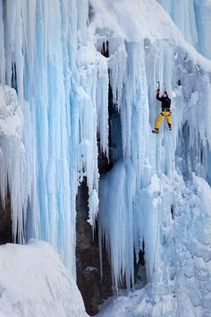 Ice Climbing by Roberto Bertero. A man climbing the huge frozen waterfall near the Col du Mont-Cenis m), Savoie, France. Mountain Climbing, Rock Climbing, Big Mountain, Trekking, Ice Climber, Cool Pictures, Cool Photos, West Coast Trail, Les Cascades