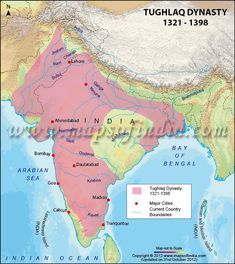 Find Tughlaq dynasty map with major cities and current country boundaries. Get detailed information about the history of Tughlaq dynasty. Ancient Indian History, History Of India, Asian History, World History, India Map, Old Maps, History Facts, Strange History, Historical Maps