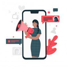 Social media concept illustration Free V. Social Media Planner, Social Media Art, Social Media Graphics, Flat Design Illustration, Business Illustration, Character Illustration, Illustration Art, Free Vector Illustration, Vector Character