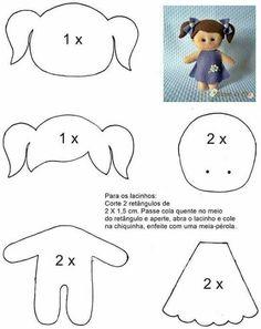 e Moldes de Artesanato Molde boneca menina de feltro - felt doll patternMolde boneca menina de feltro - felt doll pattern Felt Doll Patterns, Stuffed Toys Patterns, Felt Baby, Sewing Dolls, Soft Dolls, Felt Toys, Doll Crafts, Clay Crafts, Paper Crafts