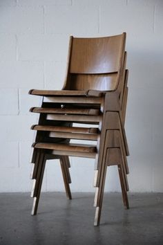 Roland Rainer Style Stacking Chairs: Amsterdam Modern