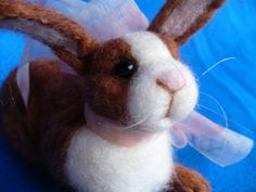 Needle Felted Collectible Easter Bunny  by grannancan,