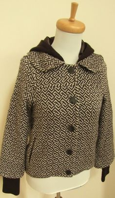 Alice + Olivia XS Brown Jacket Coat Graphic Print Hooded Wool blend Tweed XSmall #Alice+Olivia #graphicprintcoat