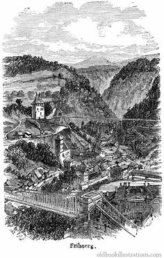 Illustration showing Fribourg, the capital of the Swiss canton of Fribourg and the district of Sarine. It is located on both sides of the river Saane/Sarine, on the Swiss plateau