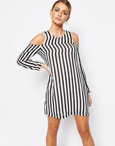 Boohoo+Stripe+Cold+Shoulder+Dress