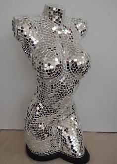 Mosaic Torso Mannequin Ornamental Display Lamp Silver Female Body Large 60cm