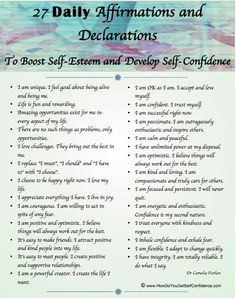 list of affirmations and declarations, building positive self talk