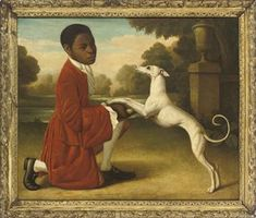 MANNER OF GEORGE STUBBS, 20TH CENTURY A PAGE BOY WITH A WHITE WHIPPET, IN A CLASSICAL LANDSCAPE