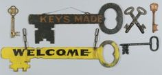 Lot 601: 6 Painted Metal Keys, incl. Signs - Image 1 - http://www.liveauctioneers.com/catalog/49503_winter-fine-art-and-antiques-auction/page31?rows=20