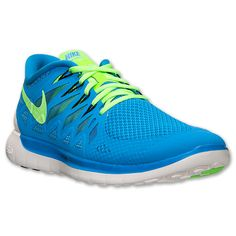 Men\u0026#39;s Nike Free 5.0 2014 Running Shoes | Finish Line | Photo Blue/Electric Green