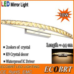 Find More Industrial Lighting Information about ECOBRT Brand 10W Waterproof LED Bathroom Vanity Crystal Wall Light Mirror Light Fixtures For New Year 44cm long CE ROHS,High Quality light fixtures wall sconces,China light covers for ceiling lights Suppliers, Cheap light fixture companies from ECOBRT LED LIGHTING on Aliexpress.com