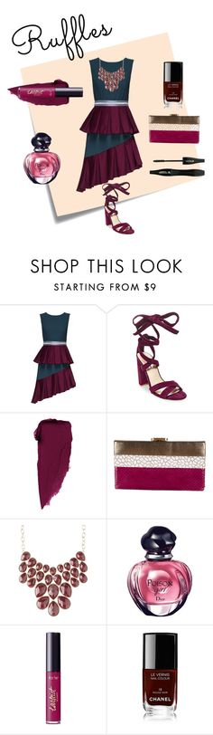 """ruffles"" by cindydelicia ❤ liked on Polyvore featuring Post-It, Lattori, Steve Madden, Diane Von Furstenberg, Charlotte Russe, Christian Dior, tarte, Chanel, Lancôme and ruffles"
