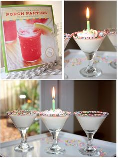 This is really cute and I'd rather have this than cake any day.     BIRTHDAY COCKTAIL  1 1/2 shots Godiva White Chocolate Liqueur  1 1/2 shots half-and-half  1/2 shot vodka  Nonpareils  Light corn syrup    Dip rim of martini glass in light corn syrup (easiest to pour light corn syrup into a shallow plate and dip martini glass into plate). ...