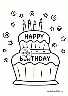Happy Birthday Cake Card Coloring Page For Kids Holiday Pages Printables Free