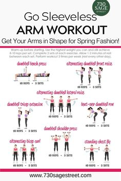 Me Time at the Gym - Get Your Arms in Shape for Spring Fashion with this free printable Go Sleeveless workout routine for perfectly toned arms. Ab And Arm Workout, Arm Workout For Beginners, Free Weight Workout, Arm Workouts At Home, At Home Workouts For Women, Body Workout At Home, Gym Workouts Women, Workout For Gym, Arms And Back Workout At Home