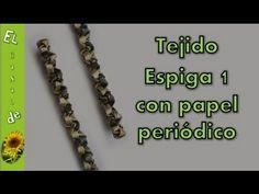 Tejido espiga 1 con papel periódico - Fabric pin 1 with newspaper - YouTube