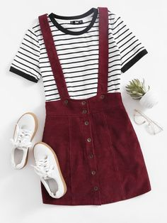 Button Up Cord Pinafore Skirt online. SheIn offers Button Up Cord Pinafore Skirt & more to fit your fashionable needs.Shop Button Up Cord Pinafore Skirt online. SheIn offers Button Up Cord Pinafore Skirt & more to fit your fashionable needs. Cute Outfits For School, Outfits For Teens, Trendy Outfits, Fall Outfits, Summer Outfits, Skirt Outfits, Cute Outfits For Girls, Fall Dresses, Dresses Dresses