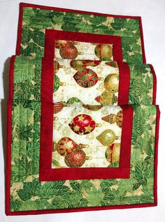 Christmas Quilted Table Runner Red Green and Cream Metallic