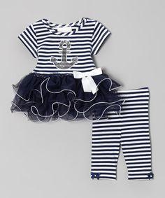 Navy Stripe Anchor Tunic & Leggings - Infant