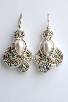 Free shipping .Bridal SOUTACHE earringsHandmade by BlackOutDesign
